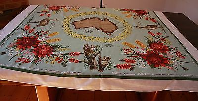 AUSTRALIA COTTON 1960s  VINTAGE TABLECLOTH.