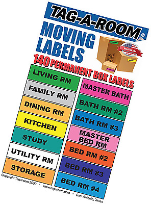Tag-A-Room Moving Labels, 140 Count Color Coded Moving Stickers Labels, Moving S