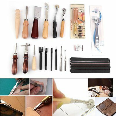 Pro Leather Craft Sewing Tool Kit Set Stitching Groover Beveler Punch Cutter DE