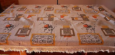 OVAL 1950s  VINTAGE TABLECLOTH WITH FRINGE.