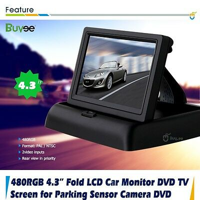 "Fold 4.3"" TFT LCD Color Car Reverse Rear View Monitor For Backup Camera DVD CA"