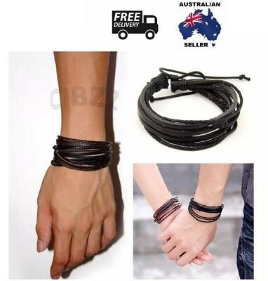 Mens Leather Bracelet Wristband Wrap Charm Boho Multi Layer Braided BLACK