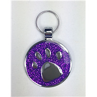 Engraved Pet Cat / Puppy  ID Name Tag SMALL 19mm Purple Silver Paw Glitter