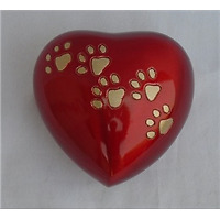 Pet Urn Red Heart with Paws