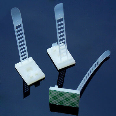 5Pcs White 64mm Adjustable Adhesive Cable Straps Cord Management Tie Mount Clips