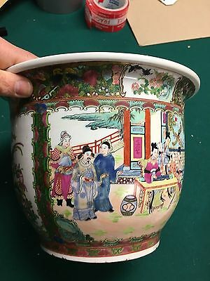 Old Chinese Famille Rose  Porcelain Pot Planter Jardiniere Plate Mk home decor