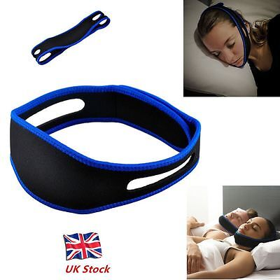 Anti Snoring Chin Strap Belt Stop Snore Sleep Aid Apnea Jaw Support Solution UK