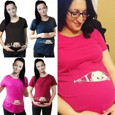 Cute Baby Print Staring Women Maternity Pregnant Mother Short Sleeve T-shirt Top