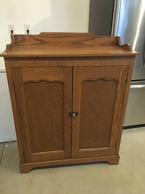 Primitive Antique 1800's Oak Jelly Cupboard Cabinet Farm Kitchen Refinished