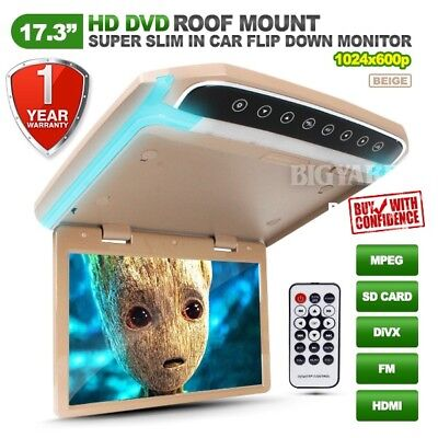 "17.3"" Slim HD LCD SD HDMI Beige Roof Mount Overhead DVD Flip-Down Monitor w/ LED"