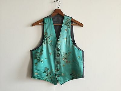 Vintage 1940's 1950's Asian Brocade Silk And Wool Waistcoat Vest, Men's Small
