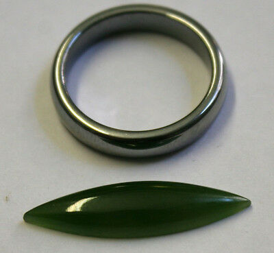 Natural Green Jade Loose Gemstone 7X26Mm Marquise Cabochon 4.5Ct Gem Ja52A