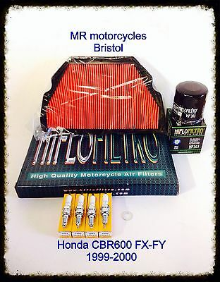 HONDA CBR600 FX-FY 1999-2000 Service Kit, Oil Filter, Air Filter, Plugs. SER1174