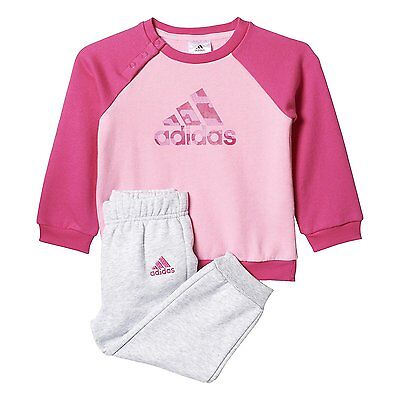 adidas girls pink/grey infant/baby tracksuit. Jogging suit. Various sizes!