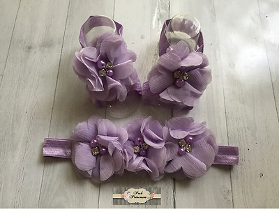 Barefoot Baby Lavender Footless Sandals & Headband Petal Baby Shoes Flower Shoe