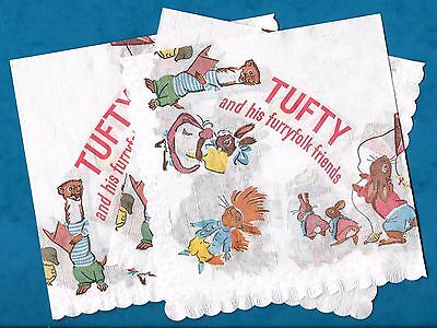 4 X 1960's Tufty The Road Safety Red Squirrel Unused Paper Serviettes Tufty Club