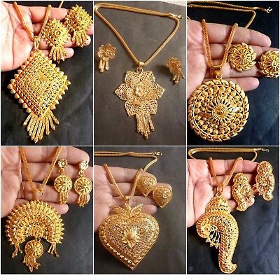 Indian 22K Gold Plated Bridal  Necklace Chain 8''Pendant Earrings Variations Set