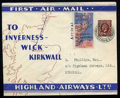 1934 1st Dec Air Mail WICK to Kirkwall Souvenir Illustrated cover