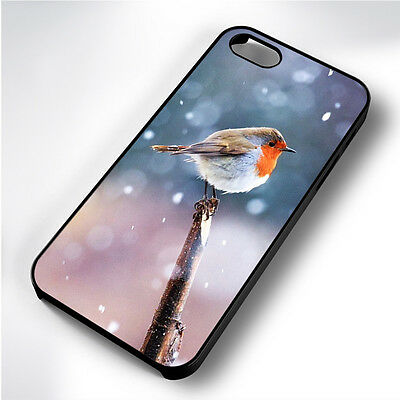 Adorable Winter Robin Black Phone Case Cover Fits Iphone 4 5 6 7 (#bh)