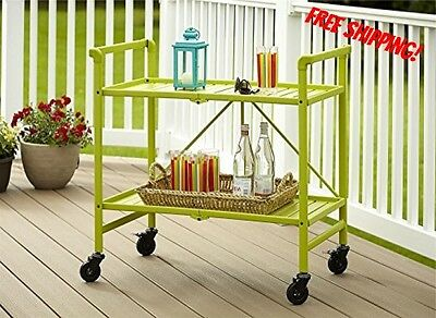 Rolling Serving Cart Green Portable Folding Kitchen Bar Beverage Snack Tea New