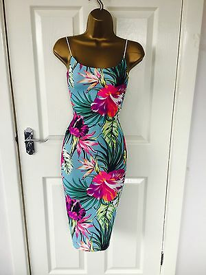 Tropical Floral Evening Party Bodycon Midi Occasion Slinky Stretch Pencil Dress