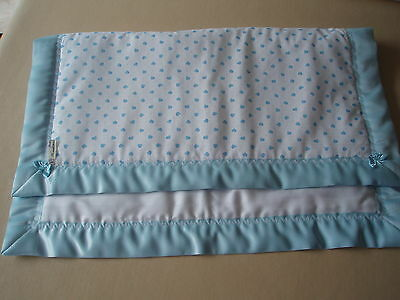 Handmade Baby Bedding-Blue&White Heart Cover/Quilt & Blue Satin Binding for Crib
