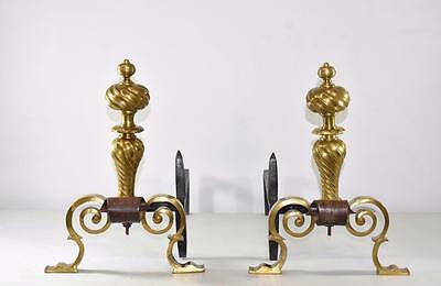 Antique Pair Brass French style Fireplace Andirons