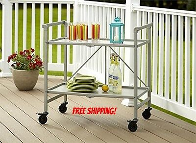 Rolling Serving Cart Silver Portable Folding Kitchen Bar Beverage Snack Tea New