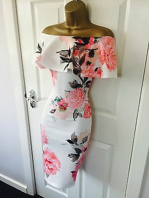 White Frill Floral Evening Party Bodycon Midi Occasion Bardot Stretch Dress £65
