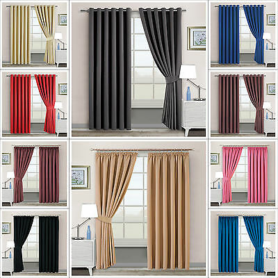 Thermal Blackout Curtains Eyelet / RingTop OR Pencil Pleat With FREE Tie Backs