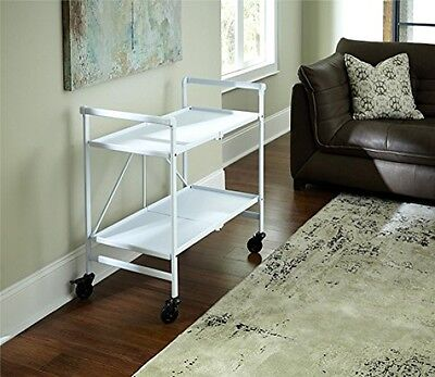 Rolling Serving Cart White Portable Folding Kitchen Bar Beverage Snack Tea New