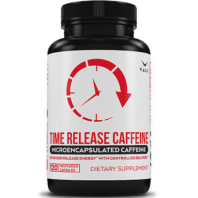 Time Release 100mg Caffeine Pills, Microencapsulated for Extended Energy Boost.