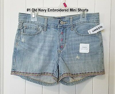 NWT Old Navy Toddler Litte Girls' Embroidered Blue Denim Jean Shorts Size 5 5T
