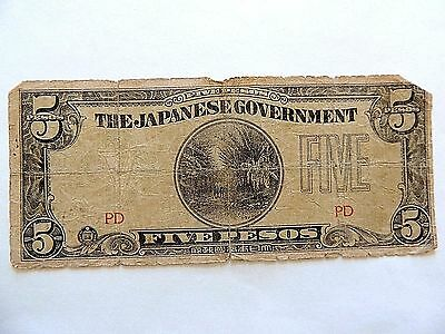 Vintage Japanese Five (5) Pesos WWII Note Lot D