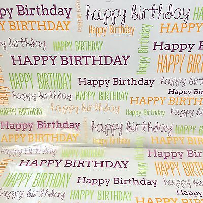 Happy Birthday Cellophane Wrap Various Lengths For Hampers And Gift Wrapping