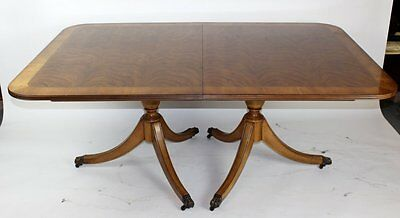 E J Victor Double Pedestal Mahogany Dining Table with 2 Leaves