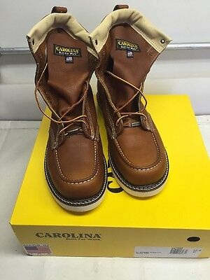 """Carolina Moc Toe 8"""" Leather Work Boots Size 12D Iron worker Made in USA CA7002"""