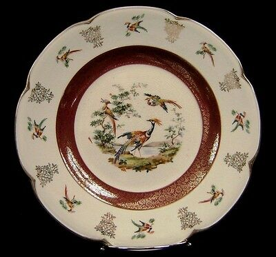 """Wood And Sons ASCOT SERVICE PLATE Charger Birds Exotic Pheasants England 10 3/4"""""""