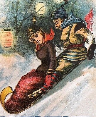 c1880 LADY ON TOBOGGAN SLEDDING Burdock Blood Bitters TRADE CARD Invalid Ladies