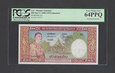 Lao 500 Kip Yr. 2500 (1957) P7s1 Specimen Perforated Uncirculated