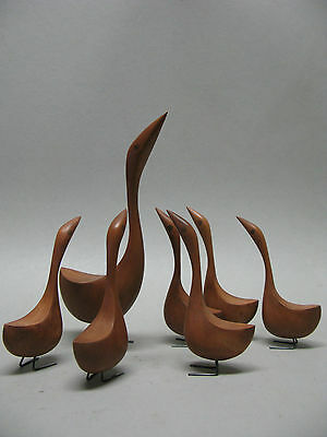 "Danish Modern  Bird - Geese With Six Young 5 1/4"" - 8 1/2"" Tall"