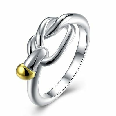 925 Silver Plt Tied Lovers Knot Ring Statement Gold Rope Infinity Coil Wrap C