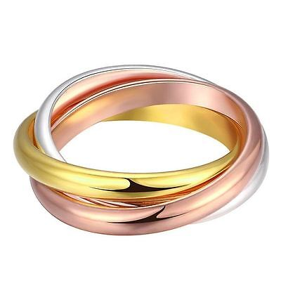 925 Silver Plt Gold Bronze Triple Infinity Band Ring Three Interwoven Multi C
