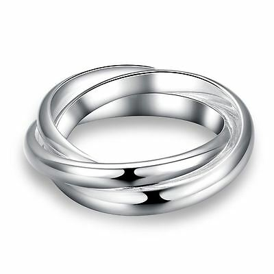 925 Silver Plt Triple Interwoven Band Infinity Ring Statement Three Thumb C