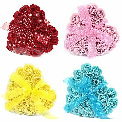 Luxury Soap Flowers - 24 In A Heart ❤️ Shaped Gift Box - Roses Soaps Set Scented