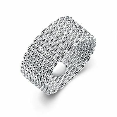 925 Silver Plt Thick Woven Chainmail Mesh Band Ring Wire Chain Wicker Thumb C