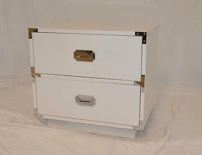 Campaign Style 2 Drawer Nightstand In White By Dixie Furniture