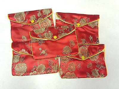 "5 Large Embroidered Brocade Snap Pouches with Zipper 5.5"" x 4"" Red. USA Ship"