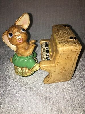"Vintage Pendelfin Hand Painted Stonecraft Rabbit Fig. ""The Thumper"" With Piano"