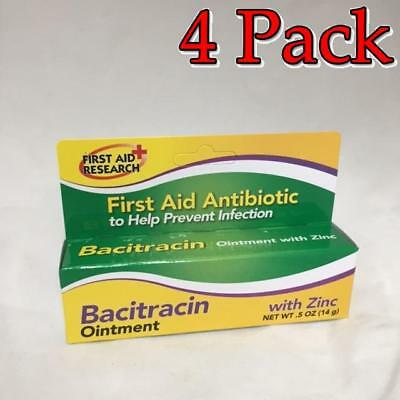 First Aid Research Bacitracin Ointment w/Zinc, 0.5oz, 4 Pack 814428008889A100